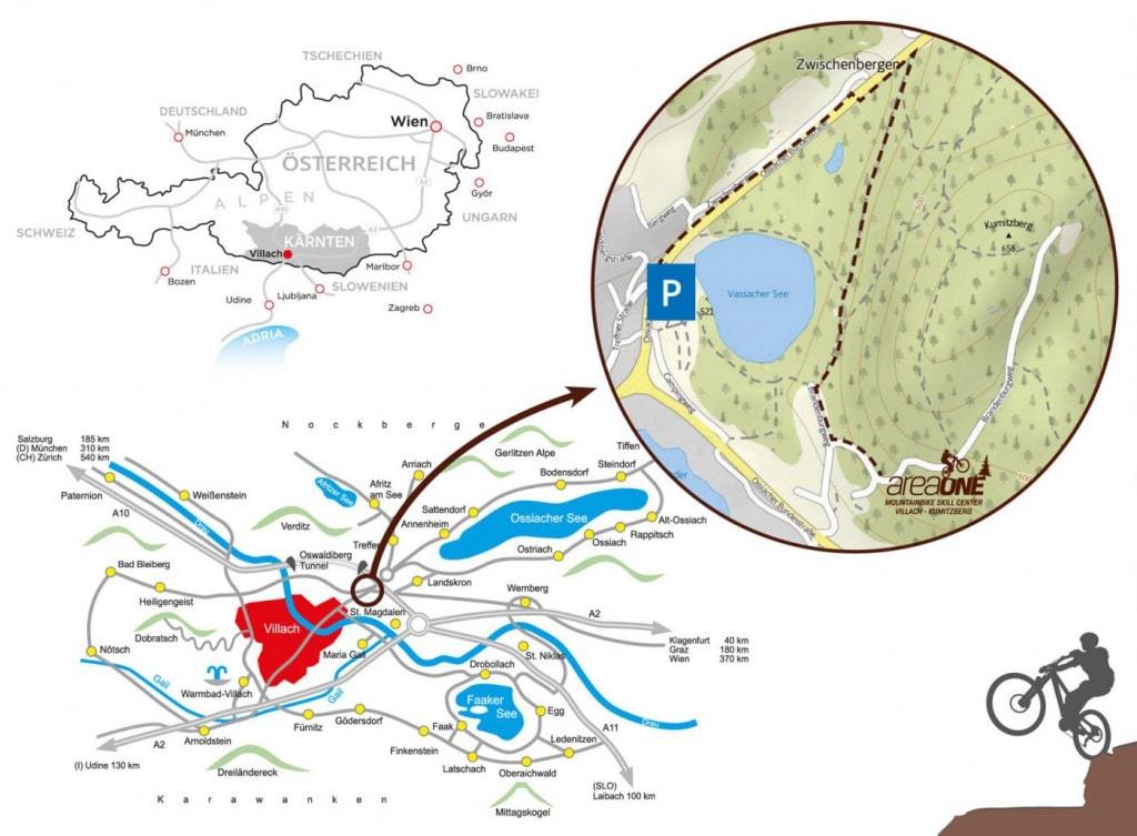 03_areaone_Anfahrt_Radlager_Tourismusregion Villach_Kumitzberg_Mountainbike