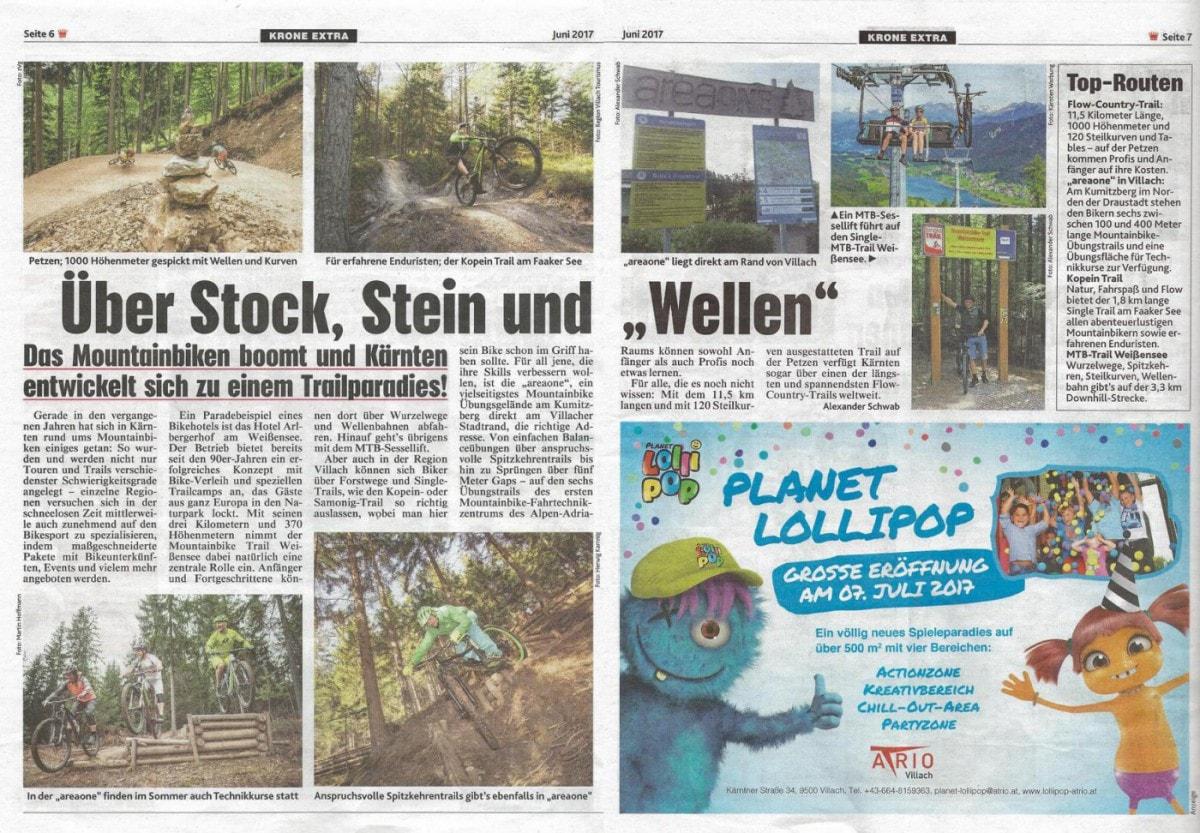 Kronen Zeitung Extra: Über Stock, Stein und Wellen – areaone inkludiert