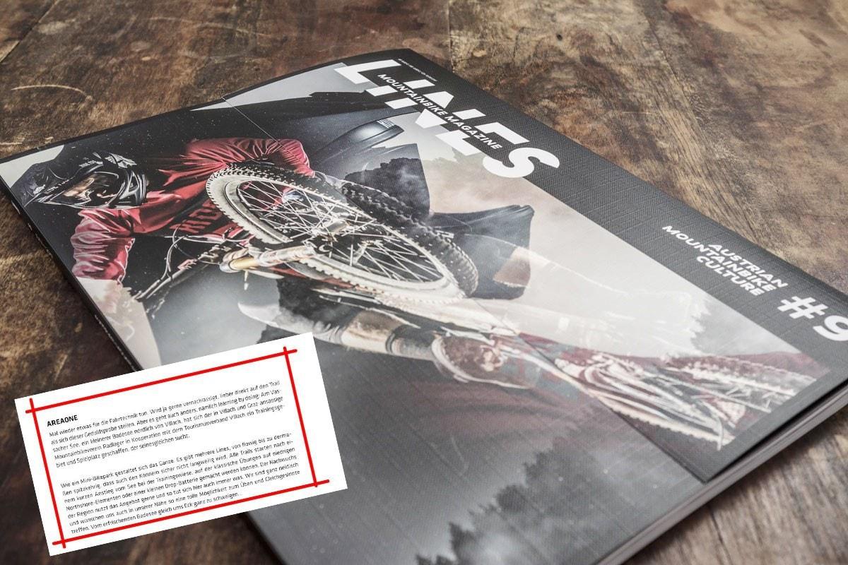 """LINES Mountainbike Magazin issue 09: Lobende Worte zur areaone """"auf da Sunnanseiten"""""""